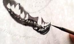 刘晓军/画虎技法视频画虎学习班刘晓军素描狼头技法1 打比例画轮廓